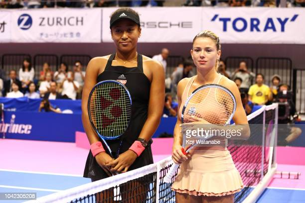 Naomi Osaka of Japan and Camila Giorgi of Italy pose for photographs prior to their Singles semi final on day six of the Toray Pan Pacific Open at...
