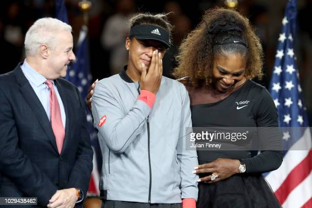 Naomi Osaka of Japan and Serena Williams of the United States react after the Women's Singles finals match on Day Thirteen of the 2018 US Open at the...