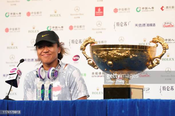 Naomi Osaka of Japan attends a press conference after Women's singles final match against Ashleigh Barty of Australia on day 9 of the 2019 China Open...