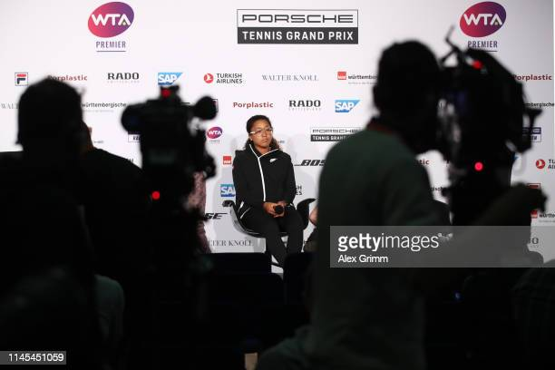 Naomi Osaka of Japan attends a press conference during day 6 of the Porsche Tennis Grand Prix at PorscheArena on April 27 2019 in Stuttgart Germany...