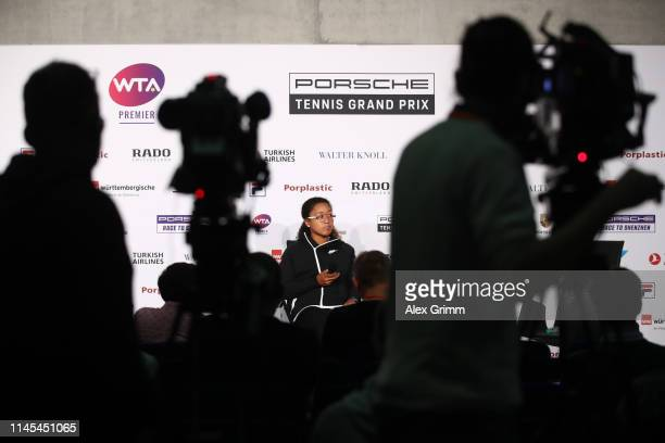 Naomi Osaka of Japan attends a press conference during day 6 of the Porsche Tennis Grand Prix at Porsche-Arena on April 27, 2019 in Stuttgart,...