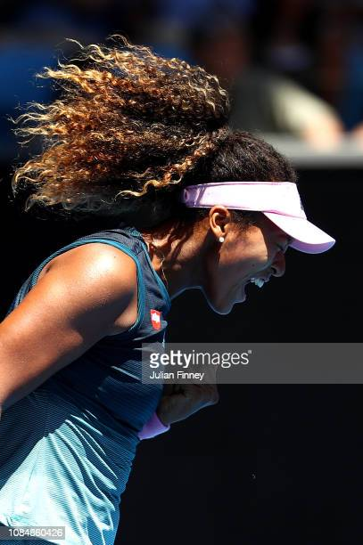 Naomi Osaka of Japan celebrates a point in her third round match against SuWei Hsieh of Chinese Taipei during day six of the 2019 Australian Open at...
