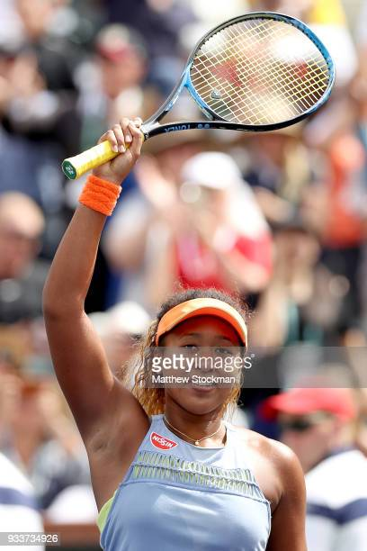 Naomi Osaka of Japan celebrates after defeating Daria Kasatkina of Russia during the women's final on Day 14 of the BNP Paribas Open at the Indian...