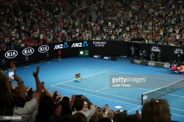 Naomi Osaka of Japan celebrates after winning championship point in her Women's Singles Final match against Petra Kvitova of Czech Republic during...