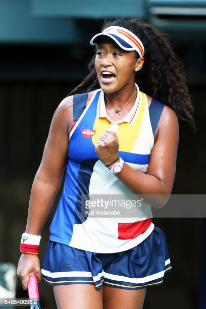 Naomi Osaka of Japan celebrates against in her match against Angelique Kerber of German during women's singles match day one of the Toray Pan Pacific...