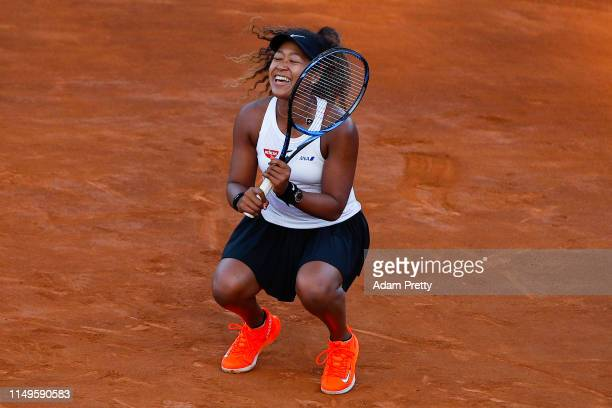 Naomi Osaka of Japan celebrates against Mihaela Buzarnescu of Romania in their Women's Singles Round of 16 match during Day Five of the International...