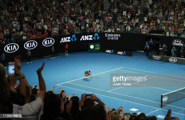 Naomi Osaka of Japan celebrates at match point following victory in her Women's Singles Final match against Petra Kvitova of the Czech Republic...
