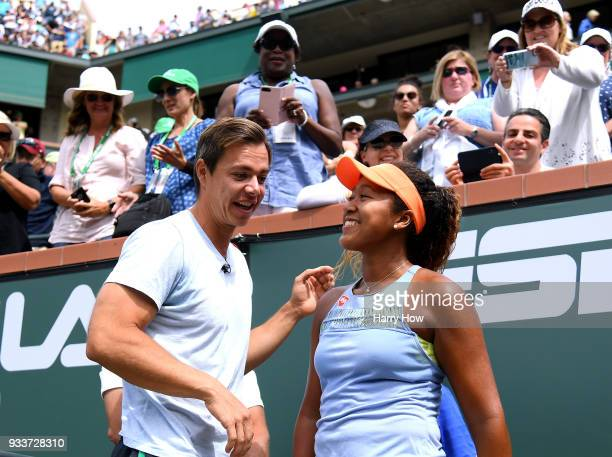 Naomi Osaka of Japan celebrates her victory in the WTA final over Daria Kasatkina of Russia with her coach Sascha Bajin during the BNP Paribas Open...