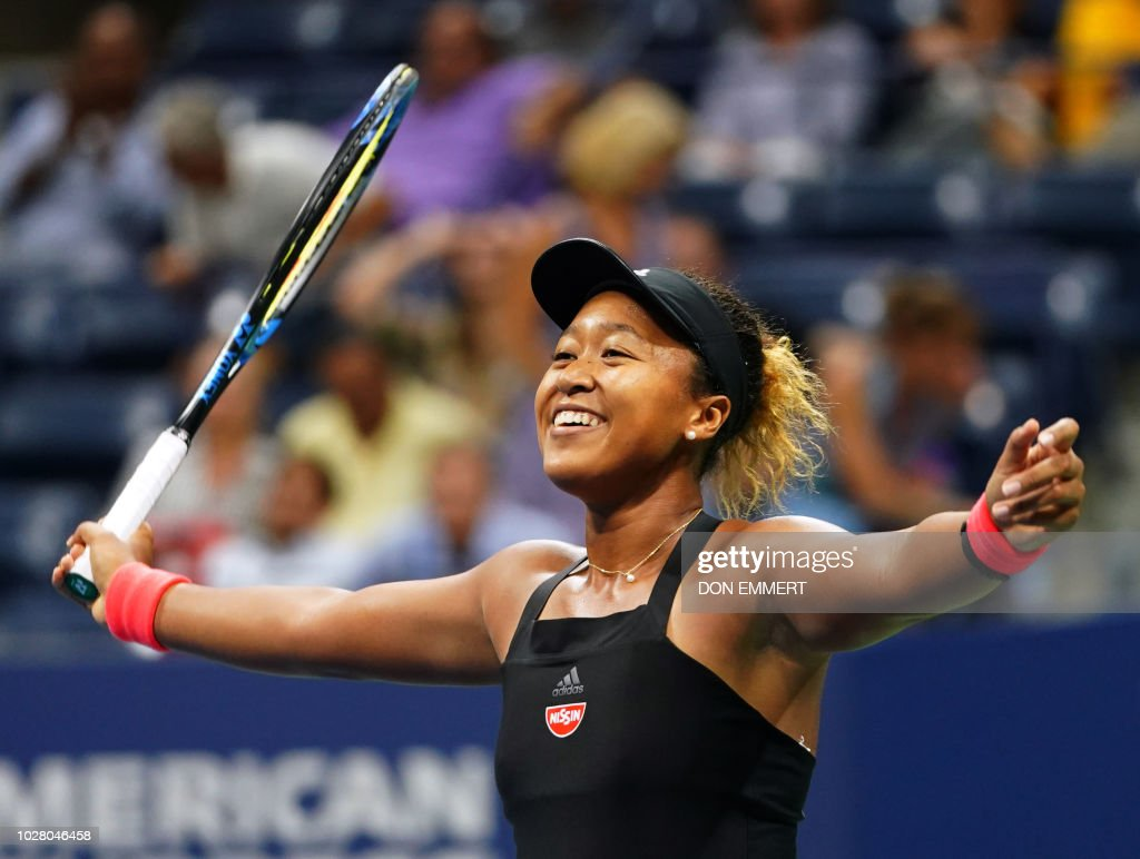 Naomi Osaka of Japan celebrates her victory over Madison Keys of the US after their 2018 US Open women's singles semi-finals tennis match on September 6, 2018 in New York.