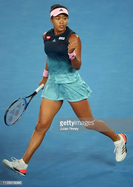Naomi Osaka of Japan celebrates in her Women's Singles Final match against Petra Kvitova of the Czech Republic during day 13 of the 2019 Australian...