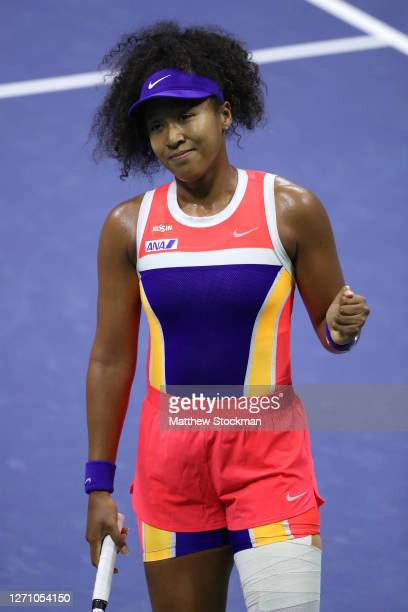 Naomi Osaka of Japan celebrates match point during her Women's Singles fourth round match win against Anett Kontaveit of Estonia on Day Seven of the...