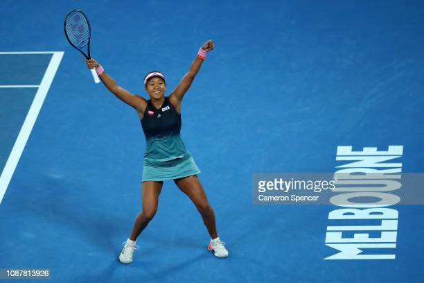 Naomi Osaka of Japan celebrates match point in her Women's Semi Final match against Karolina Pliskova of Czech Republic during day 11 of the 2019...