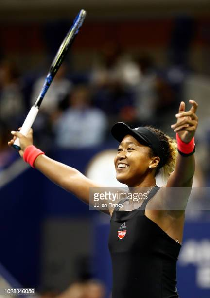 Naomi Osaka of Japan celebrates victory following her women's singles semifinal match against Madison Keys of the United States on Day Eleven of the...