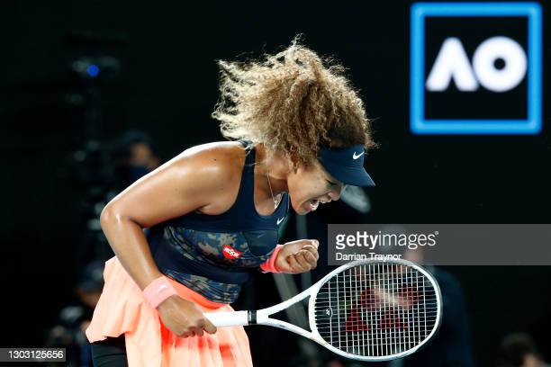 Naomi Osaka of Japan celebrates winning a point in her Women's Singles Final match against Jennifer Brady of the United States during day 13 of the...