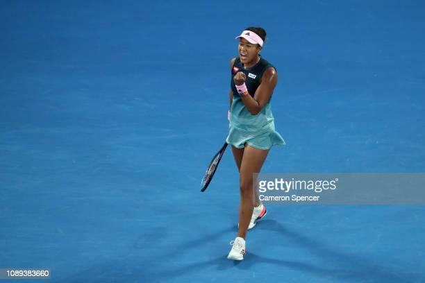 Naomi Osaka of Japan celebrates winning the first set in her Women's Singles Final match against Petra Kvitova of the Czech Republic during day 13 of...