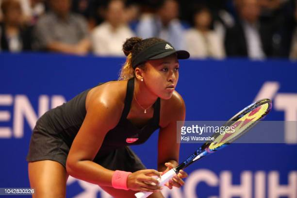 Naomi Osaka of Japan competes in the Singles final against Karolina Pliskova of the Czech Republic on day seven of the Toray Pan Pacific Open at...