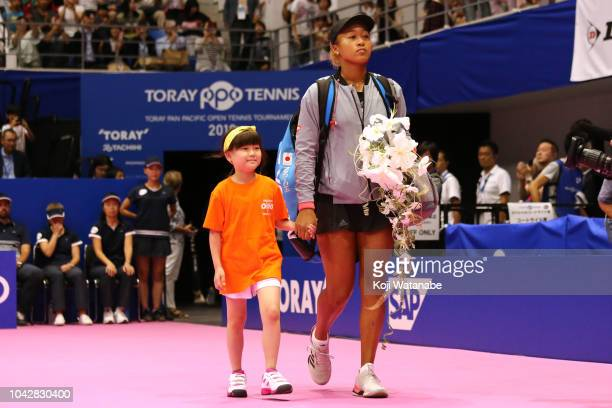 Naomi Osaka of Japan enters the court prior to the Singles final on day seven of the Toray Pan Pacific Open at Arena Tachikawa Tachihi on September...