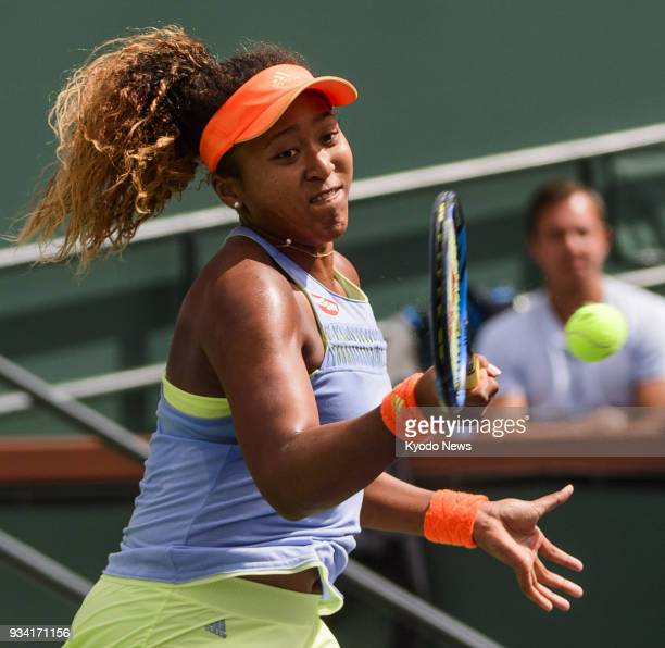 Naomi Osaka of Japan hits a forehand during her 63 62 win over Daria Kasatkina of Russia in the women's singles final of the BNP Paribas Open in...