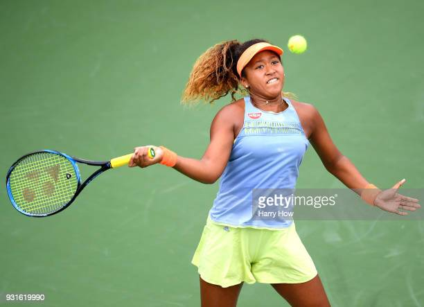 Naomi Osaka of Japan hits a forehand in her match against Maria Sakkari of Greece during the BNP Paribas Open at the Indian Wells Tennis Garden on...