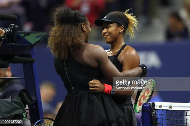 Naomi Osaka of Japan hugs Serena Williams of the United States after winning the Women's Singles finals match on Day Thirteen of the 2018 US Open at...