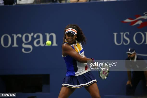 Naomi Osaka of Japan in action against Angelique Kerber of Germany during women's singles match within 2017 US Open Tennis Championships at Arthur...