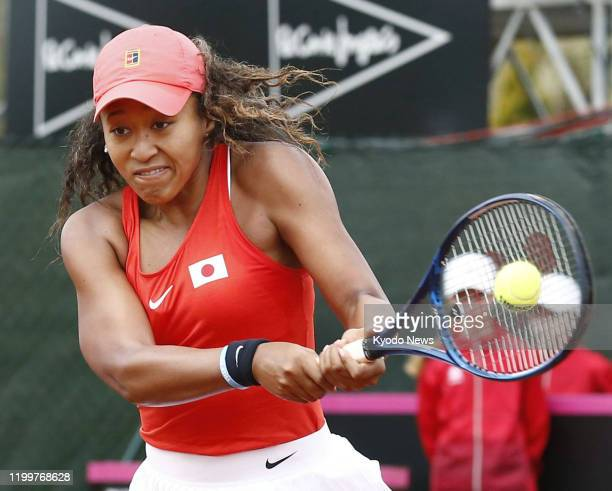 Naomi Osaka of Japan in action against Sara Sorribes Tormo of Spain in her Fed Cup Qualifiers singles match in Murcia Spain on Feb 7 which she lost