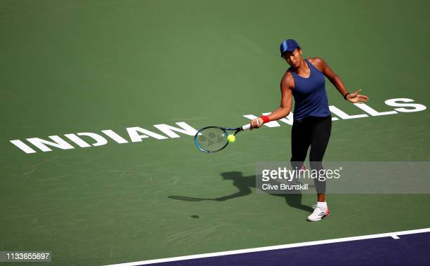 Naomi Osaka of Japan in action during a practice session on Day 1 of the BNP Paribas Open at the Indian Wells Tennis Garden on March 04, 2019 in...