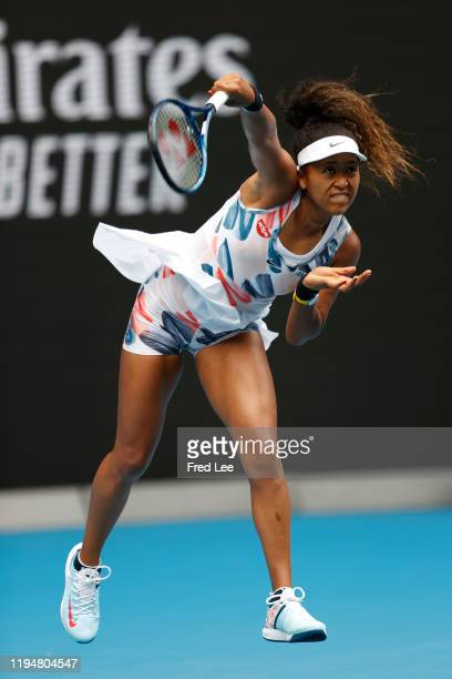Naomi Osaka of Japan in action during her Women's Singles first round match against Marie Bouzkova of Czech Republic on day one of the 2020...