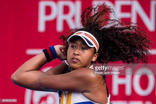 Naomi Osaka of Japan in action during the Prudential Hong Kong Tennis Open 2017 match between Naomi Osaka of Japan and Alexa Guarachi of Chile at...