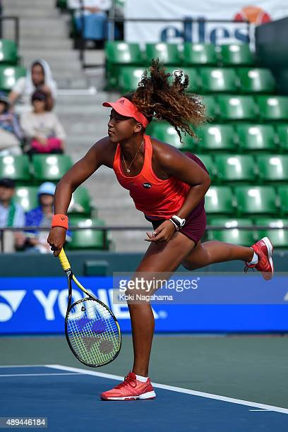 Naomi Osaka of Japan in action during the women's singles match against Barbora Strycova of Czech Republic during day one of the Toray Pan Pacific...