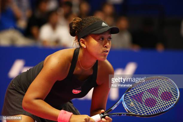 Naomi Osaka of Japan in action in the Singles second round match against Dominika Cibulkova of Slovakia on day three of the Toray Pan Pacific Open at...