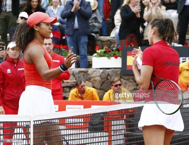 Naomi Osaka of Japan is pictured after losing her singles match against Sara Sorribes Tormo of Spain in the Fed Cup Qualifiers in Murcia Spain on Feb...