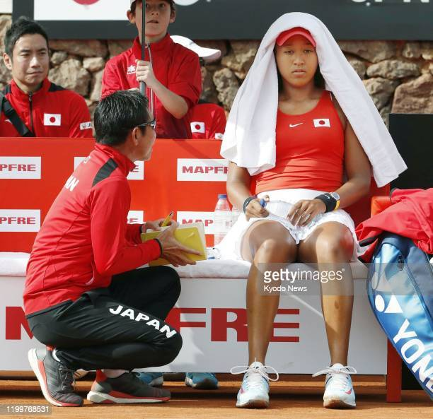 Naomi Osaka of Japan is pictured during her singles match against Sara Sorribes Tormo of Spain in the Fed Cup Qualifiers in Murcia Spain on Feb 7 2020