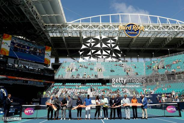 Naomi Osaka of japan Novak Djokovic of Serbia Serena Williams and Roger Federer of Switzerland participate in the ribbon cutting ceremony held on...