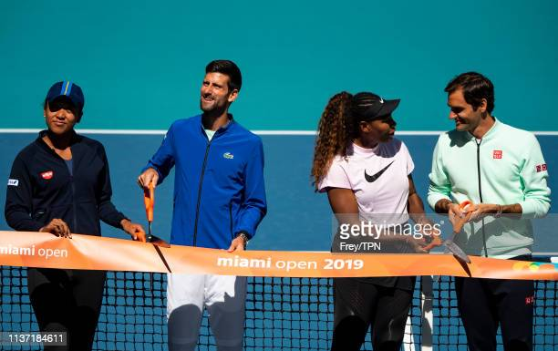 Naomi Osaka of Japan Novak Djokovic of Serbia Serena Williams of the United States and Roger Federer of Switzerland perform the ribbon cutting...