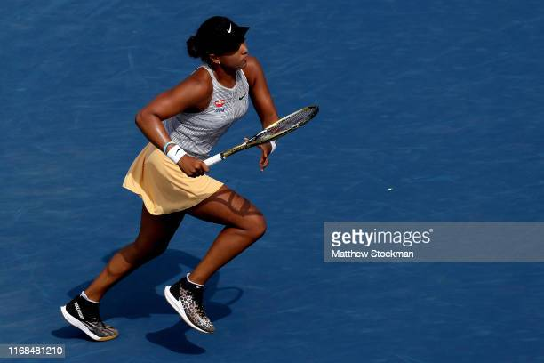Naomi Osaka of Japan plaus Sofia Kenin during the Western Southern Open at Lindner Family Tennis Center on August 16 2019 in Mason Ohio