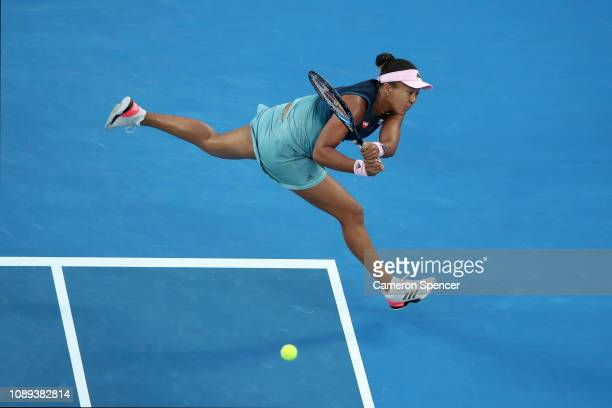 Naomi Osaka of Japan plays a backhand in her Women's Singles Final match against Petra Kvitova of the Czech Republic during day 13 of the 2019...