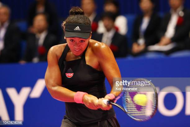 Naomi Osaka of Japan plays a backhand in the Singles final against Karolina Pliskova of the Czech Republic on day seven of the Toray Pan Pacific Open...