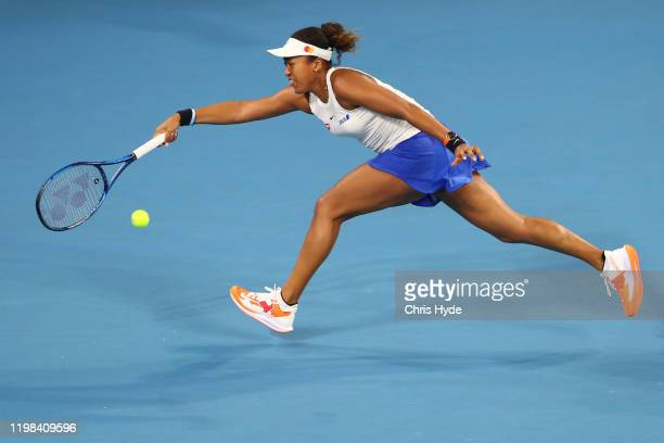 Naomi Osaka of Japan plays a forehand in her match against Sofia Kenin of the United States during day four of the 2020 Brisbane International at Pat...