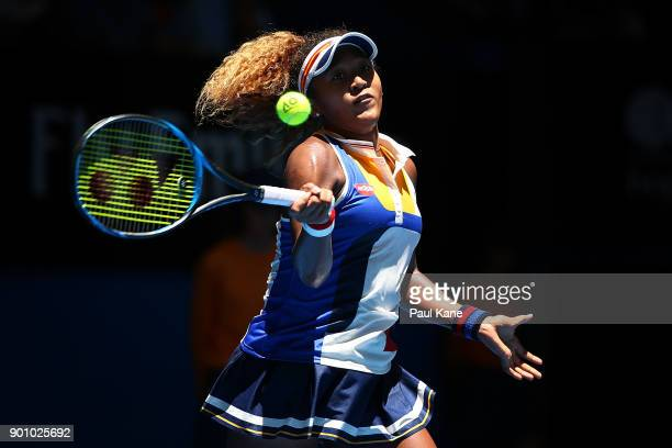 Naomi Osaka of Japan plays a forehand in her singles match against Anastasia Pavlyuchenkova of Russia on day six of the 2018 Hopman Cup at Perth...