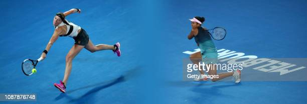 COMPOSITE OF IMAGES Image numbers 10877688381087796000 GRADIENT ADDED In this composite image a comparison has been made between tennis players Petra...