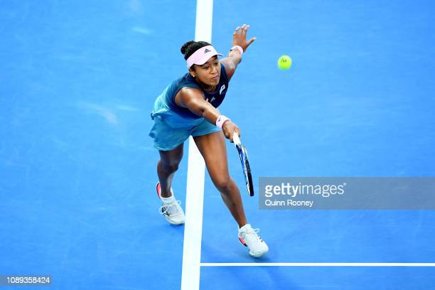 Naomi Osaka of Japan plays a forehand in her Women's Singles Final match against Petra Kvitova of the Czech Republic during day 13 of the 2019...