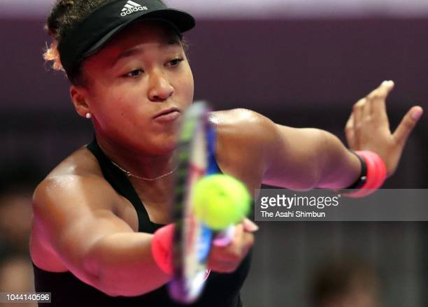 Naomi Osaka of Japan plays a forehand in the Singles final against Karolina Pliskova of the Czech Republic on day seven of the Toray Pan Pacific Open...