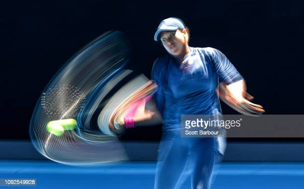Naomi Osaka of Japan plays a shot during a practice session ahead of the 2019 Australian Open at Melbourne Park on January 11 2019 in Melbourne...