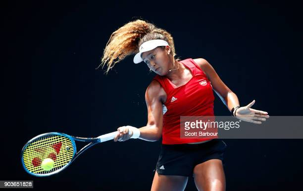 Naomi Osaka of Japan plays a shot during a practice session ahead of the 2018 Australian Open at Melbourne Park on January 11 2018 in Melbourne...