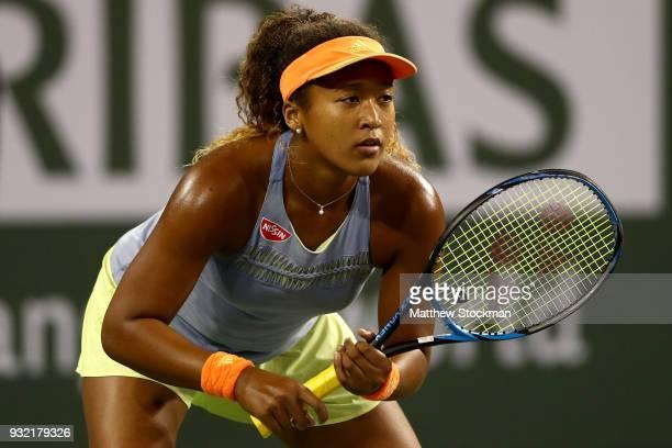 Naomi Osaka of Japan plays Karolina Pliskova of Czech Republic during the BNP Paribas Open at the Indian Wells Tennis Garden on March 14 2018 in...