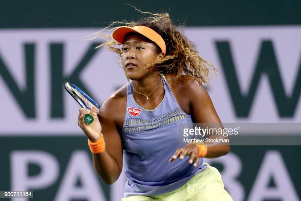 Naomi Osaka of Japan plays Sachia Vickery during the BNP Paribas Open at the Indian Wells Tennis Garden on March 11 2018 in Indian Wells California