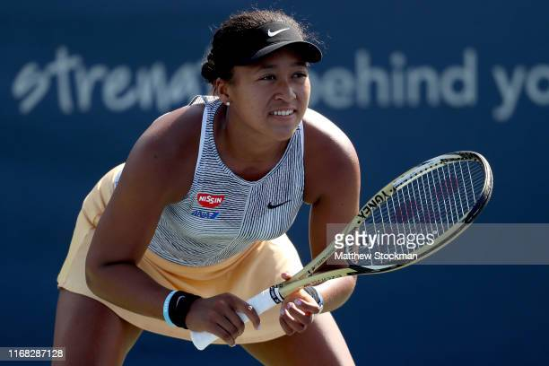 Naomi Osaka of Japan plays SuWei Hsieh of Taiwan during the Western Southern Open at Lindner Family Tennis Center on August 15 2019 in Mason Ohio