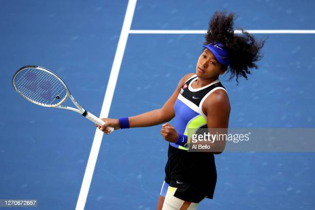 Naomi Osaka of Japan reacts after winning her Women's Singles third round match against Marta Kostyuk of the Ukraine on Day Five of the 2020 US Open...