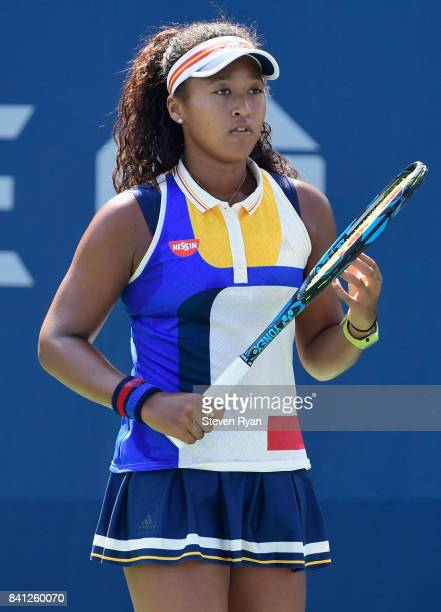 Naomi Osaka of Japan reacts against Denisa Allertova of Czech Republic during their second round Women's Singles match on Day Four of the 2017 US...
